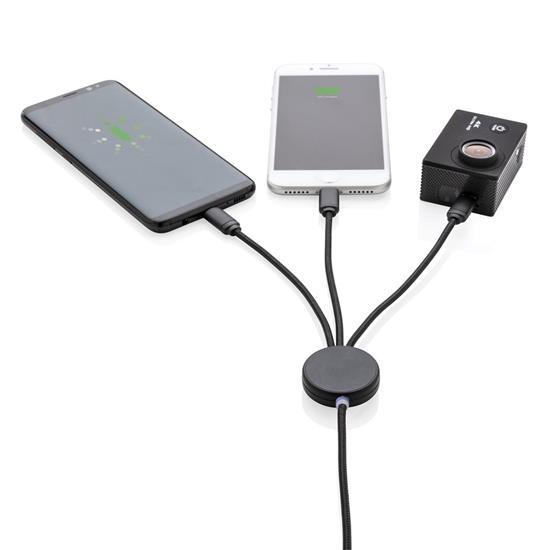 USB 3-i-1 kabel med lysande logga med tryck Svart