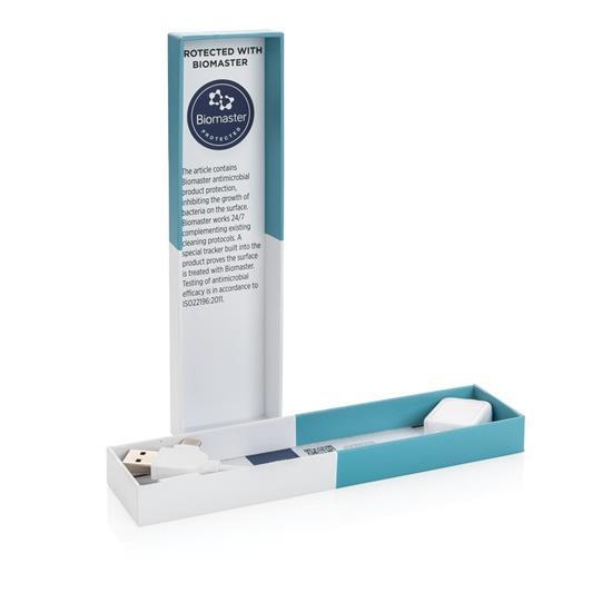 Laddningskabel Biomaster 6-i-1 antimikrobiell med tryck Vit