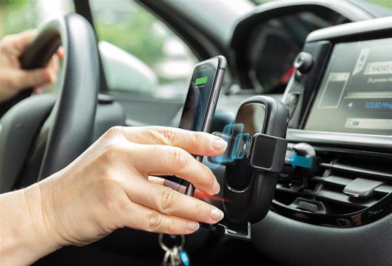 Mobilhållare för bilen med 5W trådlös laddning med tryck Svart