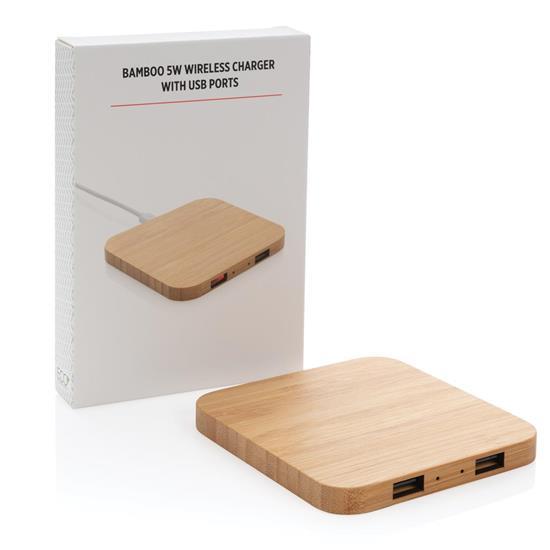 Trådlös laddare Bambu 5W med USB portar med tryck Brun