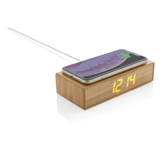 Väckarklocka Bambu med 5W trådlös laddning med tryck Brun
