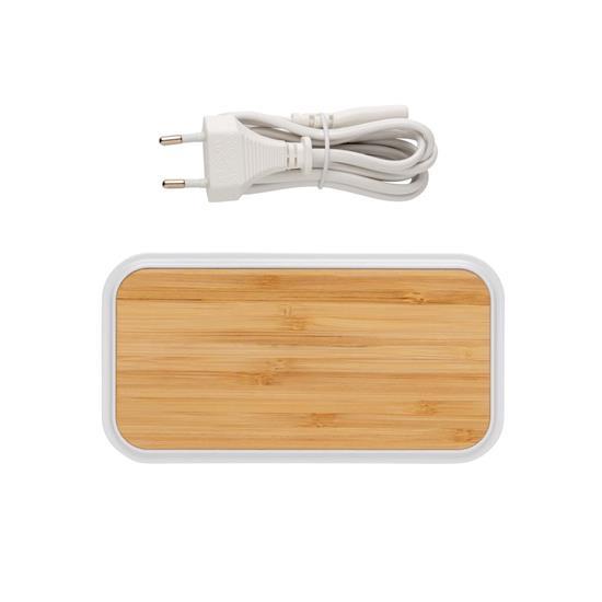 Trådlös laddare Bambu 5W med 3st USB portar med tryck Brun