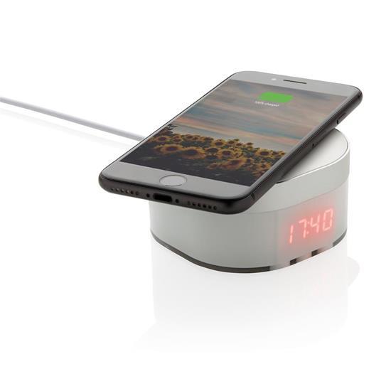 Digitalklocka Aria med 5W trådlös laddning med tryck Vit