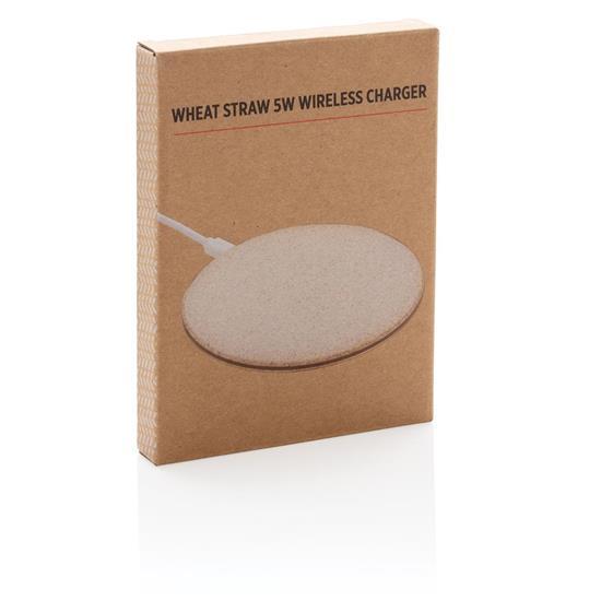 Trådlös laddare Wheat Straw 5W med tryck Brun