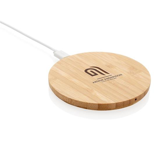 Trådlös laddare Bambu 5W med tryck Brun
