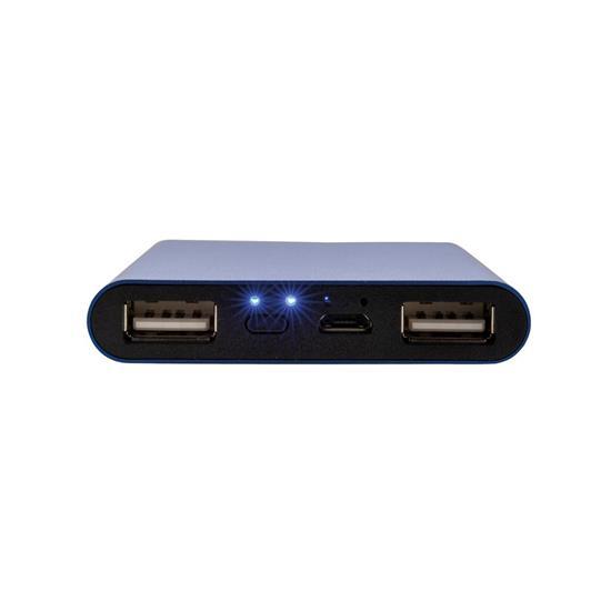 Powerbank Compact 5000 mAh med tryck Blå