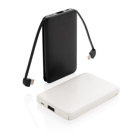 Powerbank 5000 mAh integrerade kablar med tryck Svart