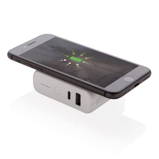 Powerbank 5000 mAh trådlös laddning med tryck Vit