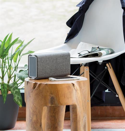 Högtalare Vogue 6W Bluetooth® med powerbank med tryck Grå