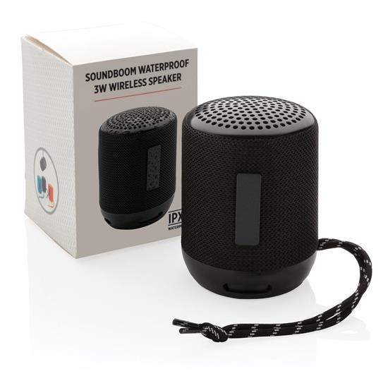 Högtalare Soundboom 3W vattentät  med tryck Svart