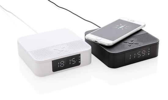 Väckarklocka med trådlös laddning och högtalare med tryck Svart