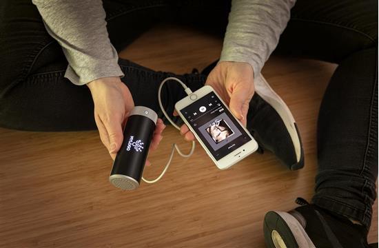 Högtalare Light Up 3W Bluetooth® med Powerbank med tryck Svart