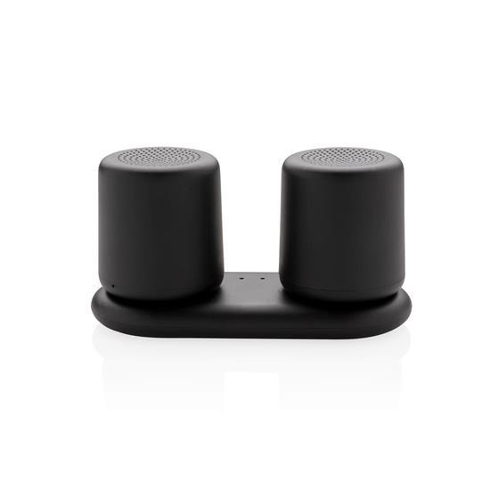 Två Högtalare 3W med dubbel induktionsladdning med tryck Svart