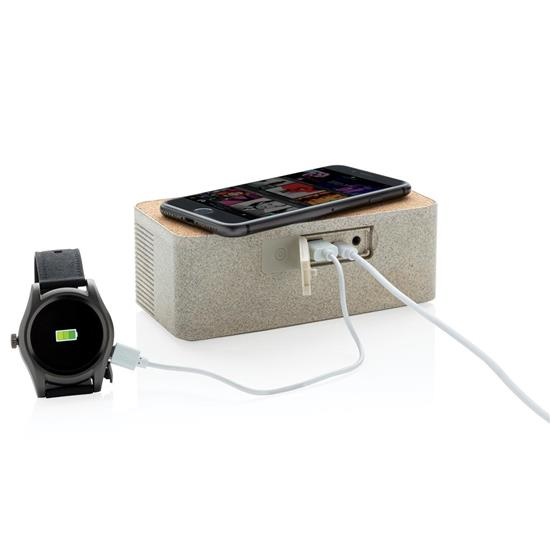 Högtalare Vetestrå 5W Bluetooth® med trådlös laddare med tryck Brun