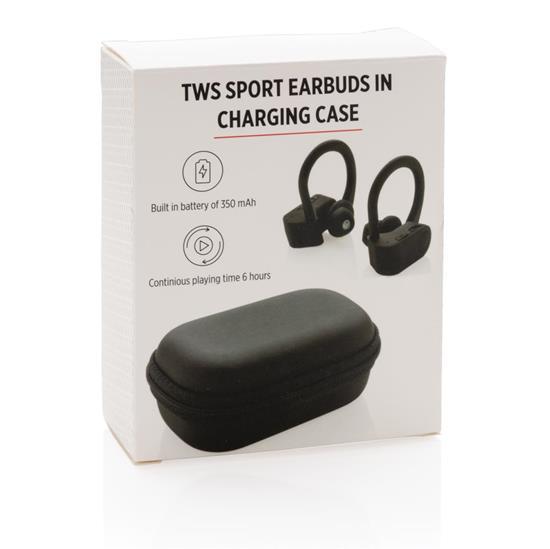 TWS sporthörlurar i laddningsfodral, svart med tryck Svart