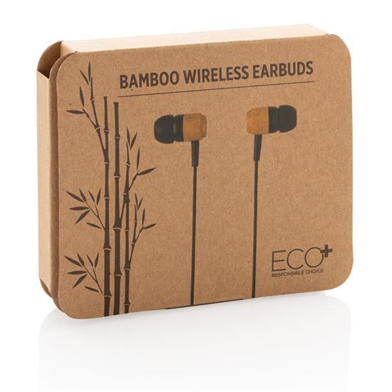 Öronsnäckor trådlös Bambu med tryck Brun