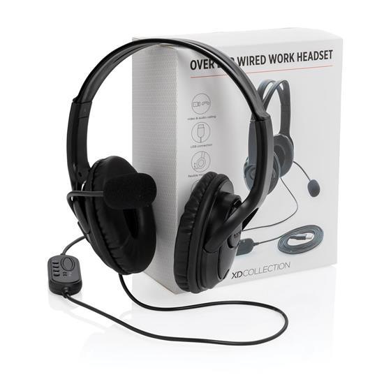 Hörlurar Over-ear med mikrofon med tryck Svart