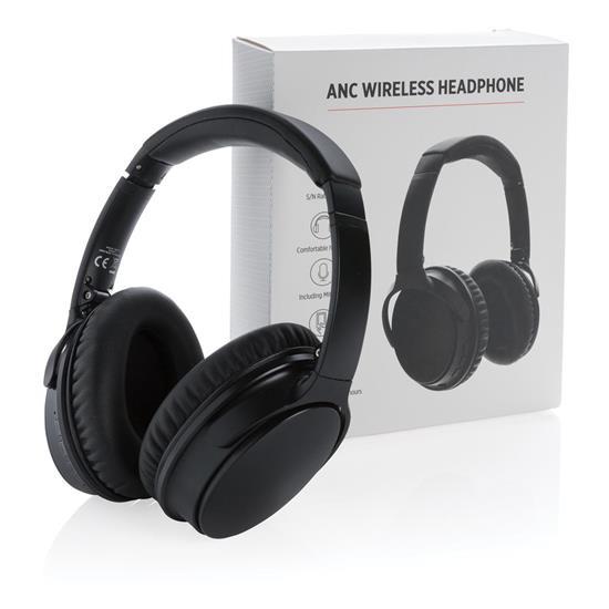 Hörlurar ANC Bluetooth® med tryck Svart