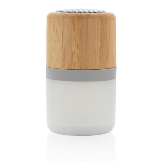 Högtalare Bambu 3W med lampa med tryck Vit