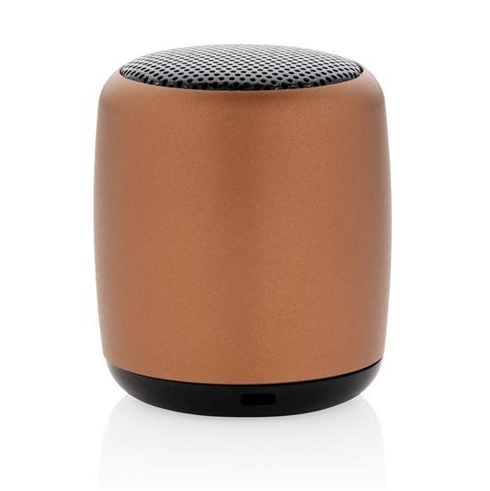 Högtalare Mini Aluminium 3W Bluetooth® med tryck Brun