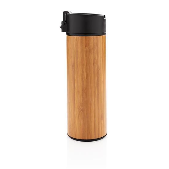 Termosmugg Bogota bambu 450ml med tryck Brun