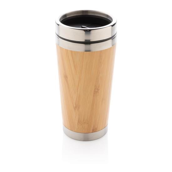 Termosmugg Bambu 450ml med tryck Brun