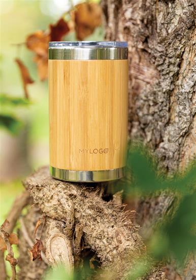 Termosmug Bambu 270ml med tryck Brun