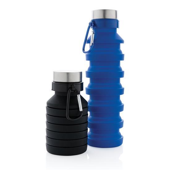 Vattenflaska Fold 550ml hopvikbar med tryck Svart