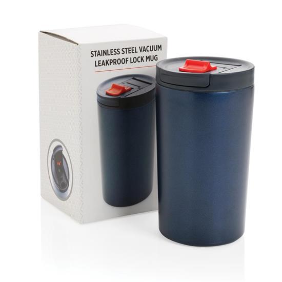 Termosmugg Läckagesäker 450ml med tryck Blå