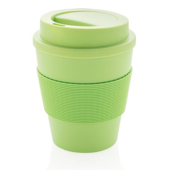 Takeaway kaffemugg med skruvlock 350ml med tryck Grön