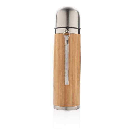 Termos Bambu 450ml med tryck Brun