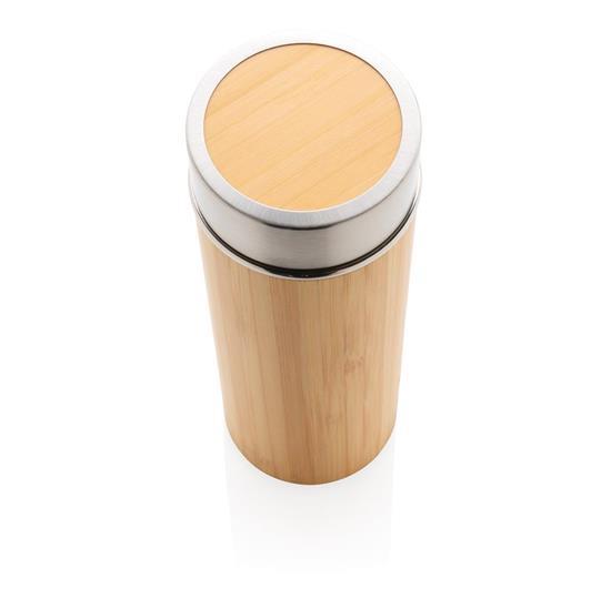 Termosflaska Bambu 350ml med tryck Brun