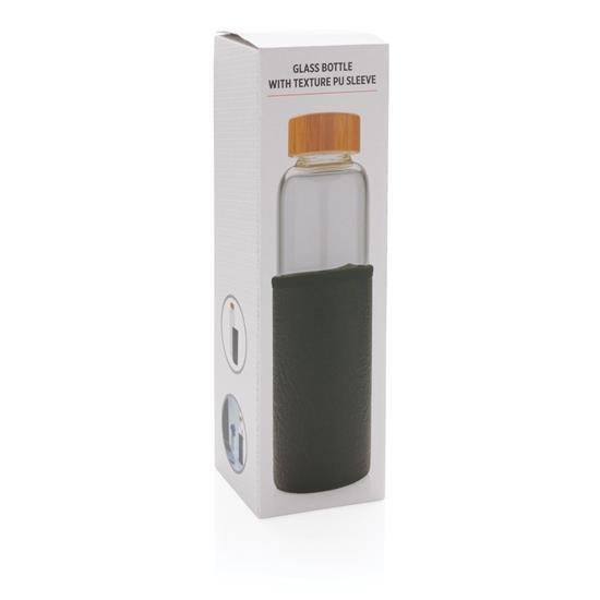 Glasflaska Borosilikat 550ml med texturerad sleeve med tryck Svart
