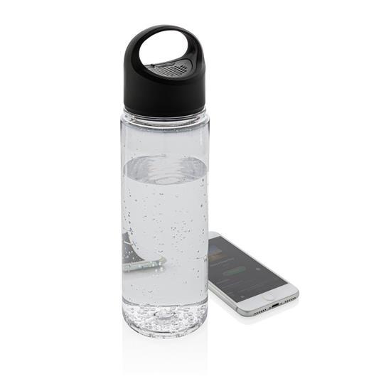 Vattenflaska 680ml med trådlös högtalare med tryck Svart