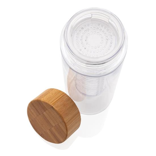Vattenflaska Bambu 640ml med fruktbehållare med tryck Vit