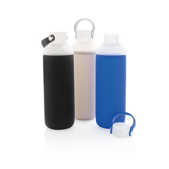 Glasflaska med silikonsleeve med tryck Blå