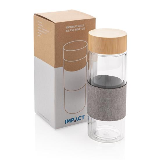 Glasflaska Impact 360ml med tryck Vit
