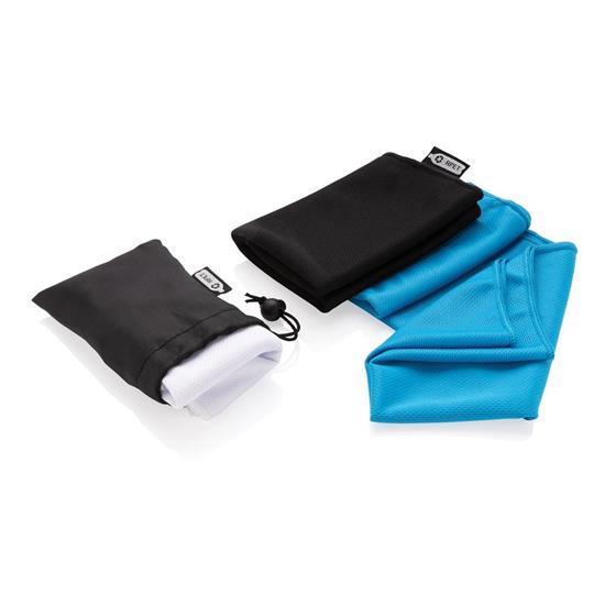 Sporthandduk RPET i fodral med tryck Blå