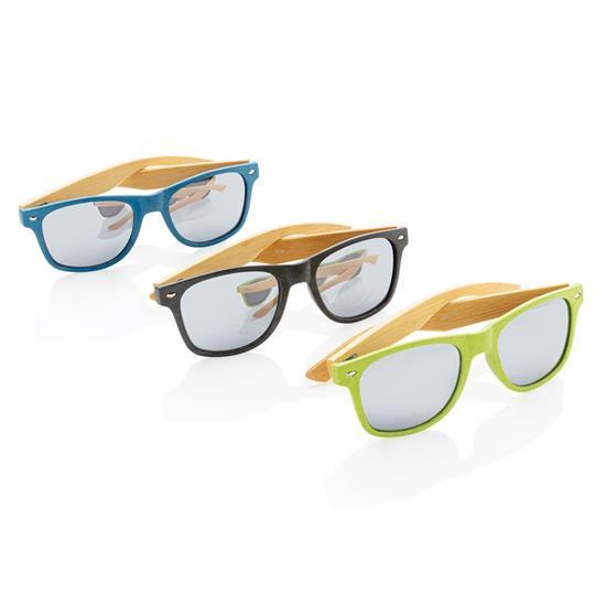 Solglasögon Vetestrå och bambu med tryck Grön