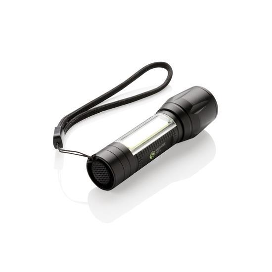 3W LED ficklampa med tryck Svart