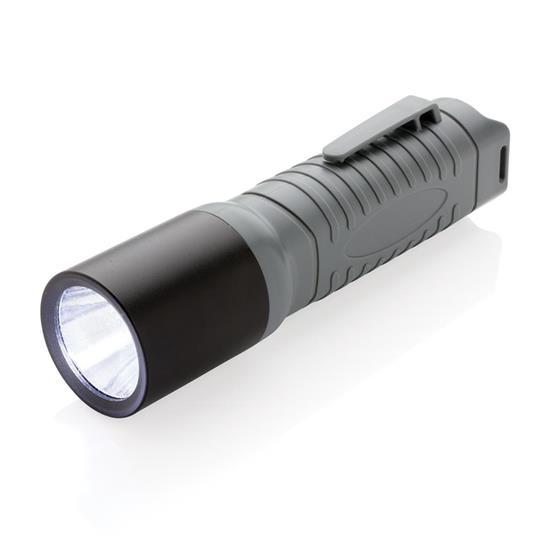 Ficklampa 3W LED lättvikt stor med tryck Grå