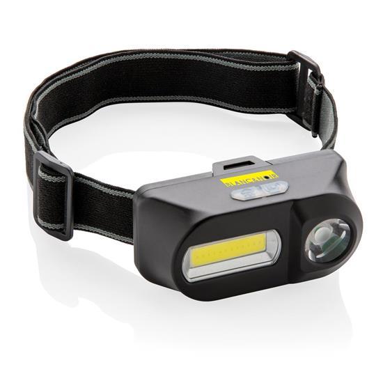Pannlampa COB och LED med tryck Svart