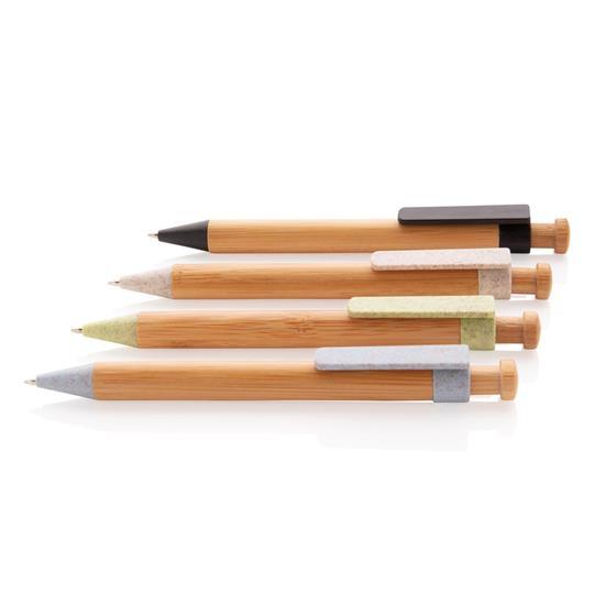 Penna Bambu med vetestråclip EKO med tryck Blå