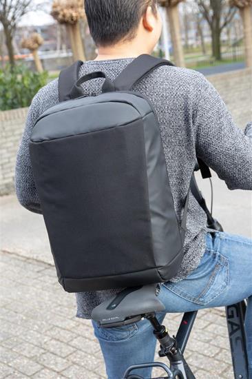 "Laptopryggsäck Madrid Anti-tjuv 15,6"" med tryck Svart"