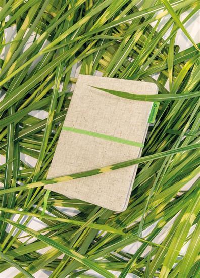Anteckningsbok Jute bomull A5 EKO med tryck Grön