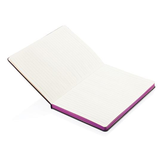Anteckningsbok Deluxe A5 färgade kantsidor  med tryck Lila
