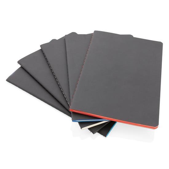 Anteckningsbok Softcover PU A5 med färgade kanter med tryck Blå