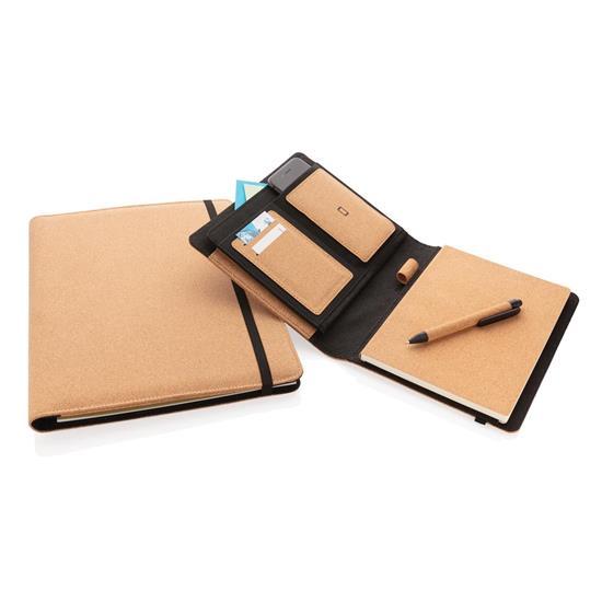 Portfolio Kork A5 med penna med tryck Svart