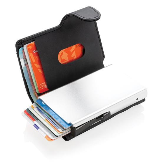 Korthållare Standard aluminium RFID med PU med tryck Svart
