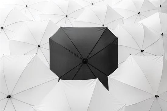 """27"""" fyrkantigt Paraply med tryck Svart"""